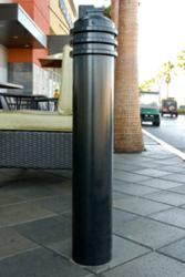 Model R-7576 bollard helps define a restaurant outdoor patio