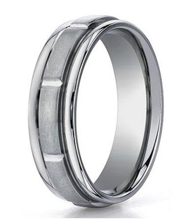 mens designer titanium wedding ring with sectional design
