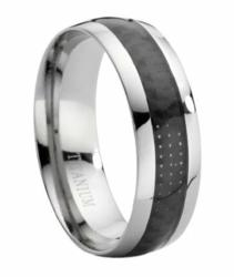 Comfort-fit Titanium Wedding Ring with Black Carbon Fiber Inlay and Polished Finish