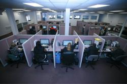 Picture of Call Center Floor for Sound Telecom, provider of lead generation, seminar registration and other call center services. Picture