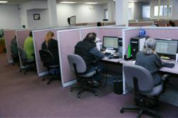 This is a picture of the Sound Telecom Spokane Call Center that provides 24 hour telephone answering services, contact center solutions, telemarketing services, lead generation services, seminar registration services and inbound call center solutions, BPO