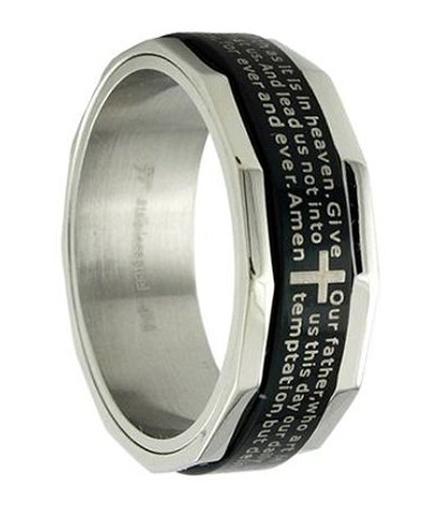 Men s Black Stainless Steel Christian Spinner RingSpectacular Selection of Men s Christian Rings   Now Available at  . Mens Cross Wedding Band. Home Design Ideas