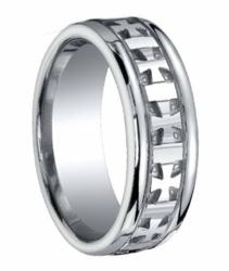 Designer Argentium Silver Cross Design Wedding Ring