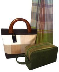 Fair Trade Cambodian silk accessories, including handbag, toiletry bag and scarf.