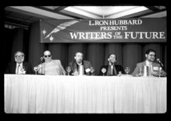 Isaac Asimov, Gene Wolfe, Robert Silverberg, Roger Zelazny and Larry Niven at Writers of the Future panel.