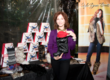 Marilu Henner styled her faux fur black mink Huggrz with red suede lacing.