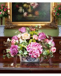 silk hydrangeas & artificial rose stem arrangement