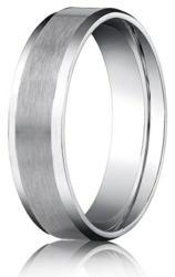 Designer Platinum Wedding Ring with Satin Finish and Polished Beveled Edges