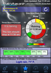Rain Clock showing heavy storms for a Hawaii location on March 6th, 2012