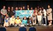 Pierre Cousteau poses with Canterbury School of Florida students after the announcement of the Cousteau Divers-Canterbury School partnership.