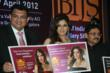 Sumesh Wadhera, Co-Chairman BIJS and MD The Art of Jewellery along with BIJS 2012 new brand ambassador Raveena Tandon and Mr Mahesh Pathi, Chairman, BIJS at the BIJS communication campaign launch