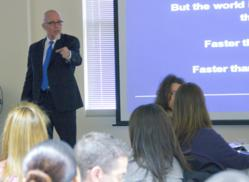 Featured speaker Jim Warford leads a discussion on boosting atudent achievement.