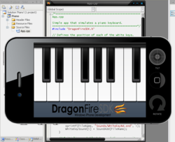 Microsoft Visual Studio with DragonFireSDK and iPhone Simulator