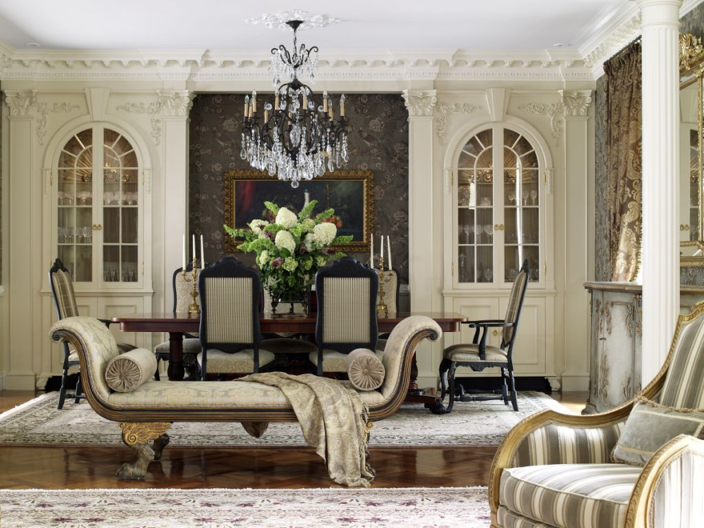 The Clients Love The Rich Paneling And Detailed Moldings, Italian Crystal  And Metal Chandeliers, Tapestries, And Defining Millwork.