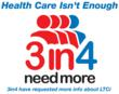 "Logo of ""3 in 4 Need More"" campaign; dedicated to raising awareness of the importance of planning for one's long term care needs"