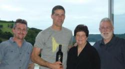 Matthew Fox with the Founders of Destiny Bay Vineyards