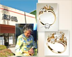An 86-year-old San Diego woman noticed that her 1.50 carat diamond had fallen out of her wedding ring. Two months later, a Leo Hamel Jewelry Buyers employee helped reunite her with the beloved gemstone.