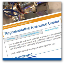 QuantumFlo's marketing portal for representatives, www.quantumflomarketing.com, provides this login area to all of its packaged pump representatives to use as a resource guaranteeing brand consistency through this collaboration of multi-use marketing materials.
