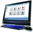 Simple internet, easy email and other senior-friendly computer features on a touchscreen computer