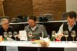 Judges panel in action at 2012 Ultimate Spirits Challenge – Dale DeGroff, Jacques Bezuidenhout, Tad Carducci (L to R)