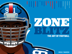 The cover of Zone Blitz Magazine's 2012/March issue, featuring Justin Tuck of the Super Bowl champion New York Giants.