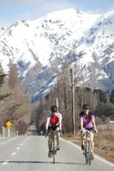 Cycling near Wanaka on Active New Zealand cycle tour