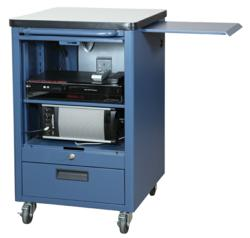 One of the line's products, the Mobile Media Cart (MMC) creates a complete audio/visual solution for any teaching environment.