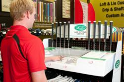 Like the foot measuring device used in shoe stores, Lamkin's golf Grip Fitting Center measures two factors: hand size and finger length. Those two measurements help identify a golfer's optimal grip size for comfort and performance. Golfers then select the most appropriate grip from the display featuring Lamkin's extensive and award-winning collection.