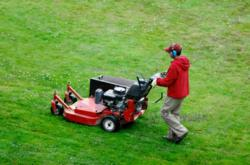 img of lawncare professional cutting grass