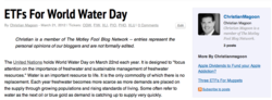 etf, water etf, water funds, world water day