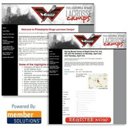 The Philadelphia Wings Select Member Solutions' Online Registration and Website Program for its Youth Lacrosse Camps
