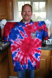Rick Stratton with freshly tie-dyed shirt