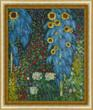 "Add a little sparkle and shimmer to your home with metallic decorative accents like a gold frame around a painting like ""Farm Garden with Sunflowers"" by Gustav Klimt."