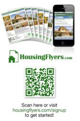 Create printable real estate flyers and for rent flyers equipped with unique QR Codes that lead to virtual web/mobile flyers on HousingFlyers.com.