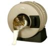 The Litter Spinner is a cylinder shaped, enclosed cat litter box