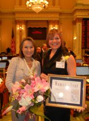Assembly Member Mary Hayashi with Charmaine Banther, Woman of the Year