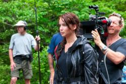 Jennifer Lawrence on the set of THE HUNGER GAMES. Photo credit: Murray Close