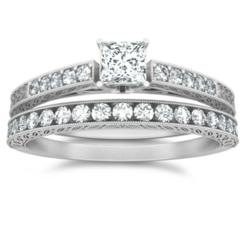 1 carat antique design wedding ring set on JewelOcean.com for $799