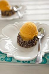 Black Rice Pudding with Mango Sorbet