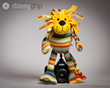 Elvis Lion stuffed animal supported by the DaisyGrip™