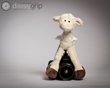 Lanky Legs Lamb stuffed animal supported by the DaisyGrip™