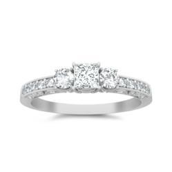 Three Stone Princess cut diamond engagement rings on JewelOcean.com