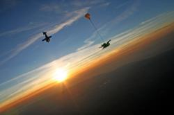 Tandem skydive experience at sunset