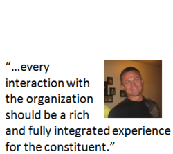 """In this image, Jim Funari, CEO of StratusLIVE is quoted as saying, """"…every interaction with the organization should be a rich and fully integrated experience for the constituent."""""""