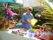 Darrin Dingman, father of the birthday girl, collects donations for the Center for Great Apes.