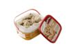 Pre-portioned frozen cookie dough in rectangular tub