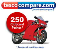 Earn 250 clubcard points usingTesco Compare Motorbike Insurance