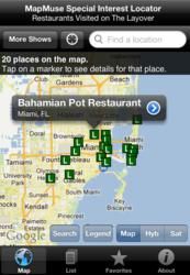 "A screenshot of the map view of places Bourdain visits in the ""Miami"" epsiode."