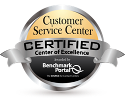 Certified Customer Service Center - Center of Excellence, by BenchmarkPortal
