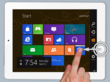 On an iPad swipe from the right to view the Charms menu with Win8 Metro Testbed.